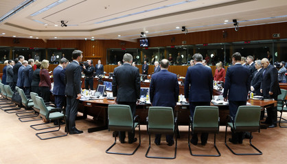 EU leaders observe a minute of silence to commemorate the victims of yesterday's Tunis attack at the start of their meeting in Brussels
