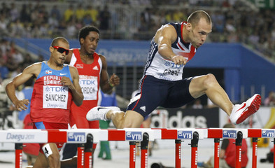 Athletes compete in their men's 400 metres hurdles semi-final at the IAAF World Championships in Daegu