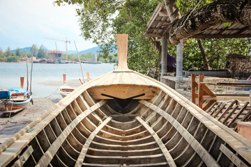 Inside boat structure made from wood