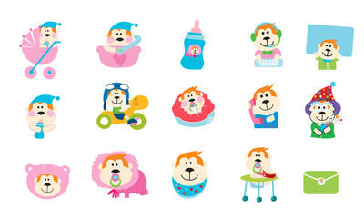 baby icon set with Gorilla concept
