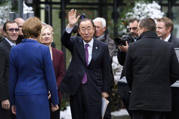 UN Secretary-General Ban Ki-moon attends the Cyprus reunification talks in the Swiss mountain resort of Mont Pelerin