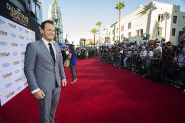 """Cast member Pratt poses at the premiere of """"Guardians of the Galaxy"""" in Hollywood"""