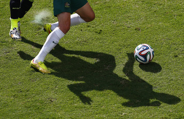 The shadows of Australia's Ryan McGowan and Spain's Jordi Alba are seen as they fight for the ball during their 2014 World Cup Group B soccer match at the Baixada arena in Curitiba