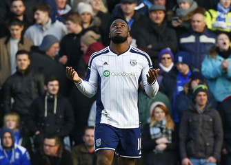 West Bromwich Albion's Victor Anichebe celebrates his second goal against Birmingham City during their FA Cup fourth round soccer match at St Andrew's in Birmingham