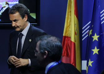 Spain's Prime Minister Jose Luis Rodriguez Zapatero leaves a news conference after a Euro Zone leaders summit in Brussels