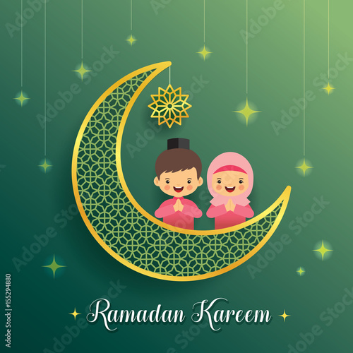 Ramadan greeting card with crescent moon and starry decor with ramadan greeting card with crescent moon and starry decor with cartoon muslim kids on green background m4hsunfo Image collections