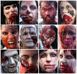 "A combination of twelve pictures shows the portraits of revellers taking part in a ""zombie walk"" through downtown Frankfurt"
