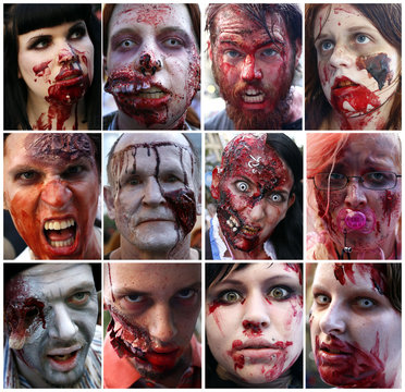 """A combination of twelve pictures shows the portraits of revellers taking part in a """"zombie walk"""" through downtown Frankfurt"""