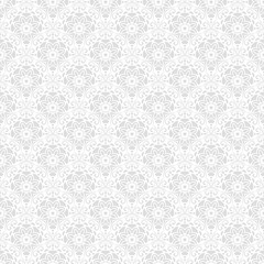 Floral light silver ornament. Seamless abstract classic background with flowers. Pattern with repeating elements