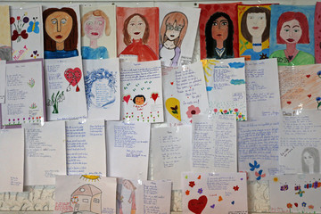 Drawings and letters dedicated to mothers are seen during an event marking Mother's Day in Bucharest