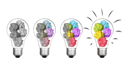 Stand out of crowd lightbulb and colorful paper crumpled  isolated on white background  idea business innovate achievement concept object design