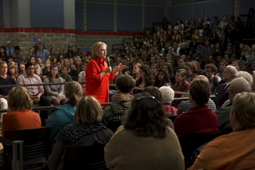 Democratic presidential candidate Hillary Clinton speaks during a town hall campaign event at the Grinnell College Harris Center, in Grinnell, Iowa