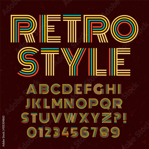 Old Style Alphabet Retro Type Font Disco Vintage Typography Poster With Sunbeams Textured Background