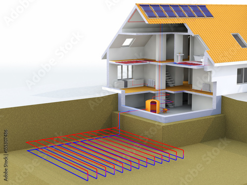 Geothermal power house with solar panels geothermal for Alternative heating systems for homes