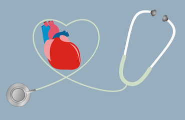 A concept for health of heart. stethoscope in shape of heart.