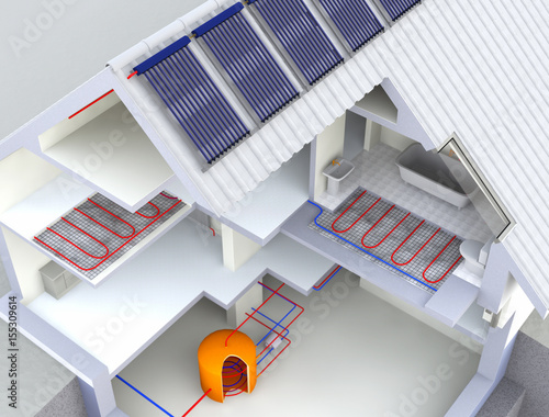 Alternative heated house with solar panels geothermal for Alternative heating systems for homes