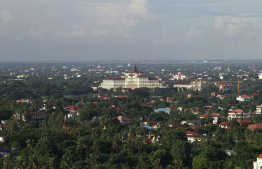 The Sedona Hotel is seen from a distance in Yangon