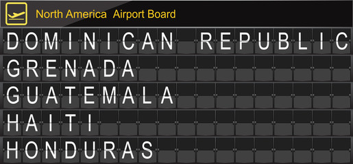 North America Country Airport Board Information