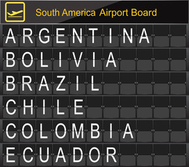 South America Country Airport Board Information