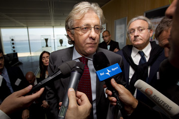 Valentini director of the Italian soccer federation leaves after UEFA's disciplinary committee discussed the the fans trouble which caused the Italy vs Serbia Euro 2012 match to be abandoned at the UEFA headquarters in Nyon