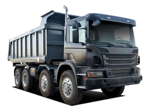 huge dump truck with isolated white background