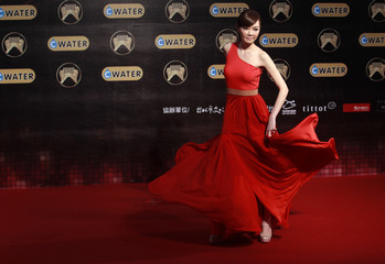 Taiwan singer Jeannie Hsieh poses at the 22nd Golden Melody Awards in Taipei