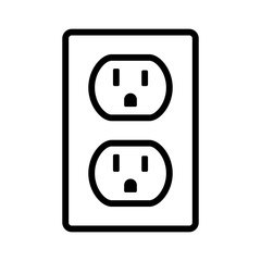 Two NEMA 5-15 grounded power outlet / ac socket line art vector icon for apps and websites