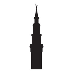 Vector picture of the silhouette of the mosque turret, flat icon