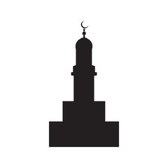 Vector picture of the silhouette of the building of the mosque, flat icon