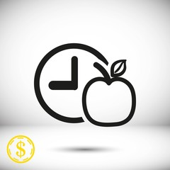 watch Apple Breakfast icon stock vector illustration flat design