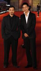 Hong Kong actors Stephen Fung and Daniel Wu arrive for the Hong Kong Film Awards presentation ceremony
