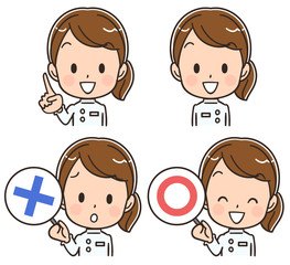 女性看護師(介護士)のアイコン風イラストのセット