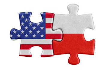 USA and Poland puzzle from flags.