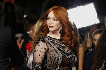 """Cast member Christina Hendricks poses on the red carpet as she arrives for the screening of the film """"Lost River"""" in competition for the category """"Un Certain Regard"""" at the 67th Cannes Film Festival in Cannes"""