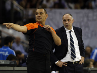 Real Madrid's head coach Laso looks on during their Euroleague Basketball Final Four final game against Olympiakos at the O2 Arena in London