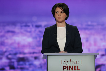 French politician Pinel attends the first prime-time televised debate for the French left's presidential primaries in La Plaine Saint-Denis