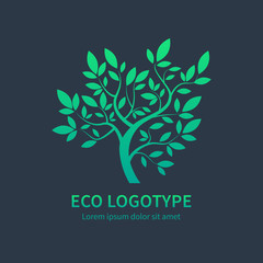 Ayurvedic spa design symbol, green vector tree