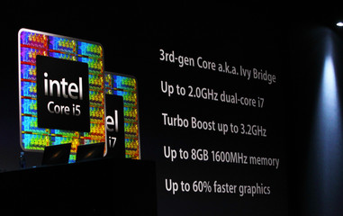 Screen shot detailing Intel processors during the Apple Worldwide Developers Conference 2012  in San Francisco