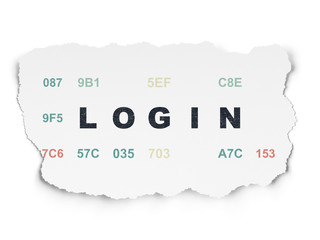 Privacy concept: Login on Torn Paper background
