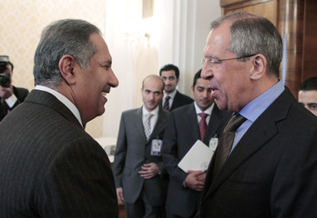 Qatar's Prime Minister Sheikh Hamad bin Jassim bin Jaber al-Thani and Russia's Foreign Minister Sergei Lavrov meet for talks in Moscow