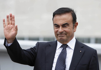 Carlos Ghosn, CEO of Renault, gestures during the opening ceremony of a newly opened production line for the new Renault Twingo at Revoz, in Novo Mesto