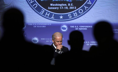 U.S. Vice President Joseph Biden pauses at U.S. Conference of Mayors Winter meeting in Washington