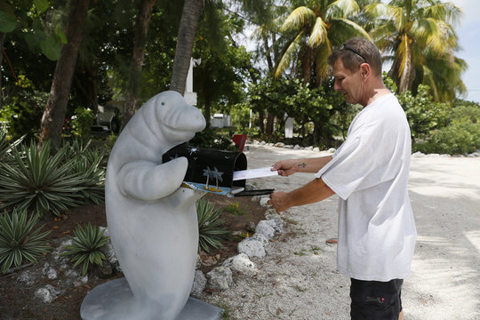 A man poses for a photograph as he puts a letter into a manatee-shaped mailbox in front of his home along the highway US-1 in the Lower Keys near Tavernier in Florida