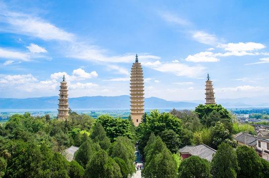 The Three Pagodas of Chongsheng Temple near Dali Old Town, Yunnan province, China.