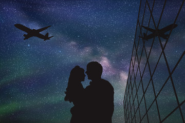 Lovers in airport at night. Vector illustration with silhouette of loving couple and flying aircraft under starry sky
