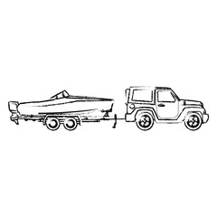 jeep with boat trailer travel tourism image vector illustration