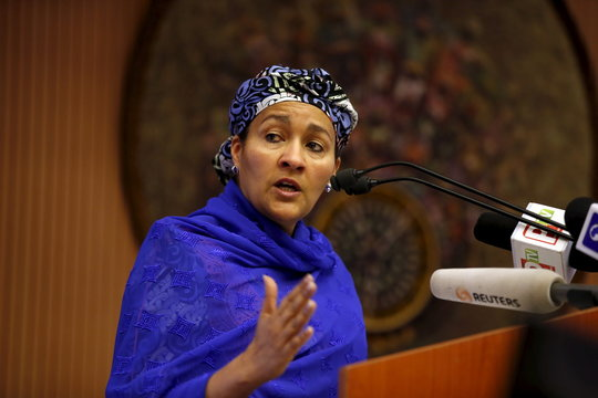 Nigeria's Minister of Environment Amina Mohammed speaks at the opening session of a Public Lecture on Nigeria and the commonwealth of Nations in Abuja