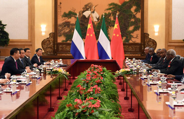 Sierra Leone's President Ernest Bai Koroma meets with Chinese President Xi Jinping in Beijing