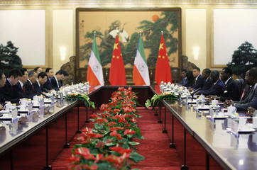Equatorial Guinea's President Obiang attends a meeting with Chinese counterpart Hu at the Great Hall of the People in Beijing