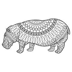 hippo standing animal naturalist wildlife style, vector illustration